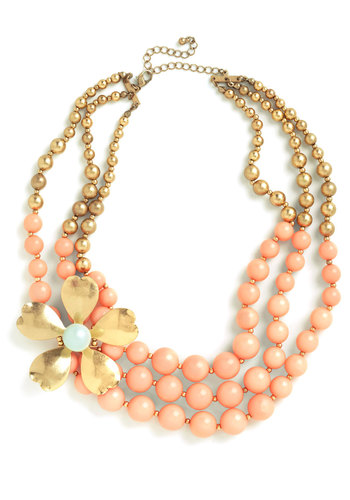 Adornment of Yore Necklace - Pink, Gold, Solid, Flower, Party, Pastel, Daytime Party