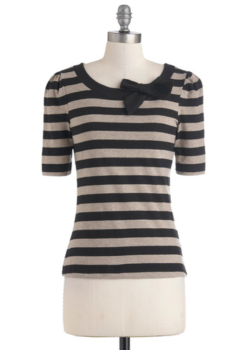 Rennes-les-Bains Top by People Tree - Mid-length, Jersey, Cotton, Black, Stripes, Bows, Tan, Short Sleeves, Work, Casual, Steampunk, Boat, Eco-Friendly, French / Victorian, International Designer