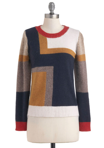 De Stijl My Heart Sweater - Mid-length, Multi, Long Sleeve, Casual, Scholastic/Collegiate, Fall, Winter, Knitted, Colorblocking