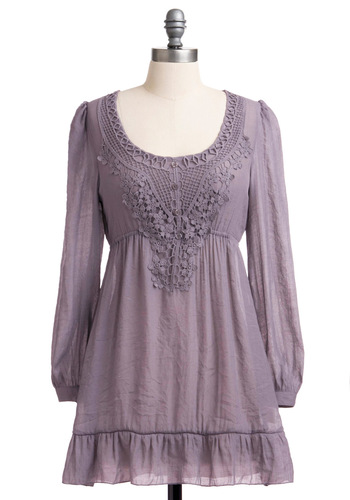 Pebble Clef Tunic in Dusty Violet - Purple, Solid, Crochet, Long Sleeve, Sheer, Long, Casual, Boho
