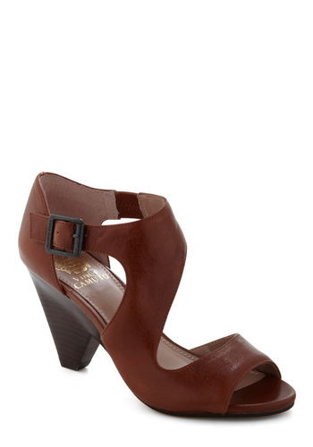 Path Less Traveled Heel - Brown, Solid, Mid, Leather, Buckles, Party, Casual, Vintage Inspired, Peep Toe
