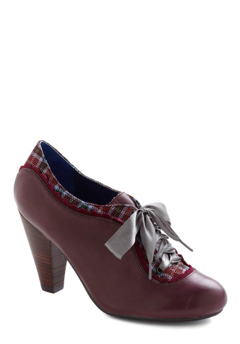 The Estate of Things Heel in Plum by Poetic License - Purple, Multi, Plaid, Mid, Lace Up, Leather, Casual, Scholastic/Collegiate, Vintage Inspired, 20s, 30s, Variation, Folk Art