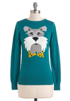Best in Bow Sweater by Louche - Mid-length, Cotton, Green, Blue, Print with Animals, Long Sleeve, Quirky, International Designer, Novelty Print
