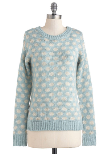Polka-nos in Autumn Sweater by Louche - Blue, White, Polka Dots, Long Sleeve, Casual, Scholastic/Collegiate, Fall, Winter, Mid-length, Pastel, Knitted, International Designer