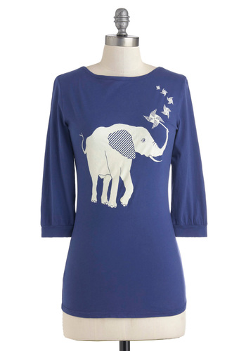 Ahead of the Pachyderm Top - Cotton, Blue, Print with Animals, 3/4 Sleeve, White, Casual, Mid-length