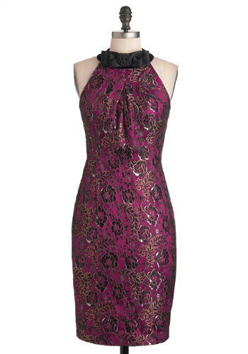 Cool Intentions Dress - Long, Purple, Black, Gold, Floral, Bows, Exposed zipper, Cocktail, Sheath / Shift, Sleeveless, Flower, 80s