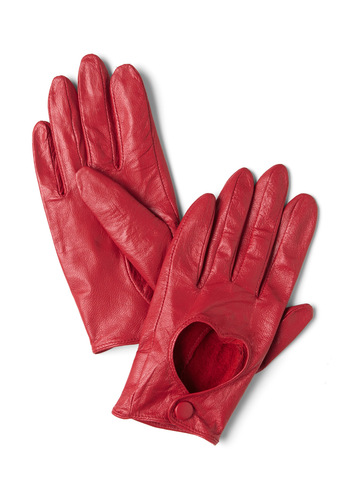 Glove Is the Answer Gloves - Leather, Red, Solid, Cutout, Party, Film Noir, Vintage Inspired, Winter
