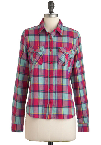 Plaid Moon Rising Top - Pink, Yellow, Blue, Plaid, Buttons, Pockets, Casual, Vintage Inspired, 90s, Long Sleeve, Cotton, Mid-length, Button Down, Collared