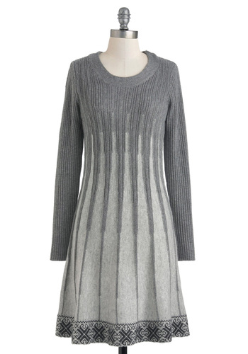 State of Suspension Dress - Short, Grey, Grey, Casual, Sweater Dress, Long Sleeve, Holiday Sale, Rustic