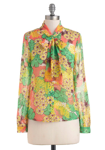 Memories Pastel Top - Multi, Yellow, Blue, Purple, Pink, Floral, Long Sleeve, Tie Neck, Mid-length, Sheer, 70s, Pastel, Work, Daytime Party
