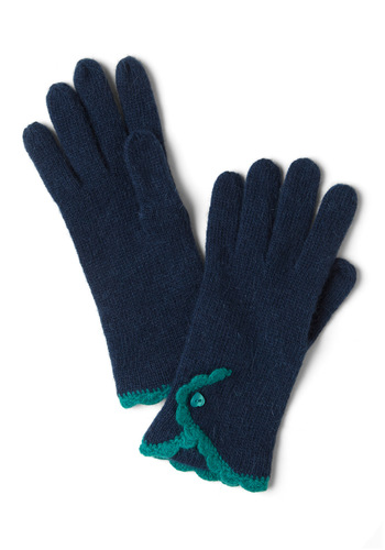 Gloves of a Lifetime - Blue, Green, Buttons, Scallops, Winter, Knitted, Casual