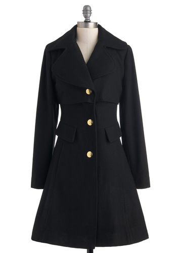 Warm Welcome Coat - Black, Solid, Buttons, Pockets, Long Sleeve, Winter, Fit & Flare, Long, 3, Party, Casual