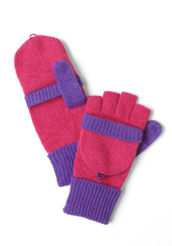 Thoroughly Modern Mittens Convertible Gloves - Pink, Purple, Knitted, Winter, Casual, Colorblocking