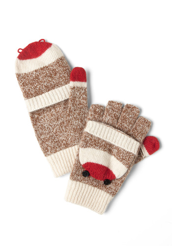 Must Be the Monkey Gloves - Brown, Red, Tan / Cream, Black, Print with Animals, Buttons, Winter, Kawaii, Casual, Quirky
