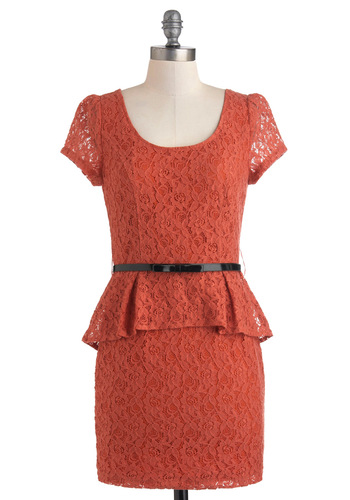 Country Pumpkin Dress - Solid, Lace, Work, Vintage Inspired, Short Sleeves, Peplum, Cotton, Short, Orange, Belted, Tis the Season Sale