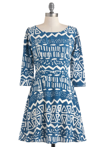 The Surreal Deal Dress - Blue, White, Print, Casual, A-line, 3/4 Sleeve, Short, Winter, Fall