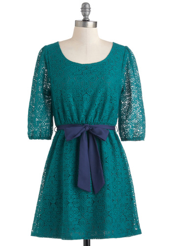 Friends Again Dress - Green, Blue, Solid, Lace, Casual, Vintage Inspired, A-line, 3/4 Sleeve, Fall, Short, Sheer, Belted, Lace