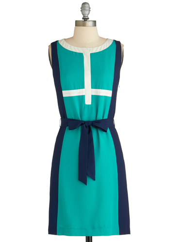 Sample 2280 - Green, Blue, White, Belted, Party, Casual, Colorblocking, Sheath / Shift, Sleeveless, Mod