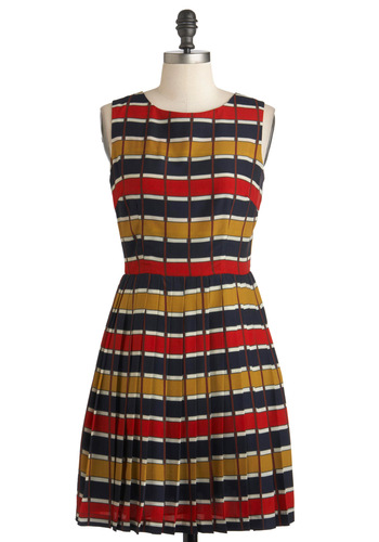 Easy to Pleats Dress by Louche - Mid-length, Red, Yellow, Blue, Stripes, Backless, Pleats, A-line, Sleeveless, Party, Casual, Cocktail, Scholastic/Collegiate, International Designer