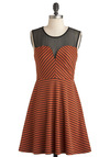 State of Lines Dress - Orange, Black, Stripes, Vintage Inspired, A-line, Sleeveless, Sheer, Short, Party, Fit & Flare, Sweetheart