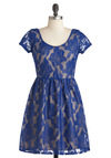 Oh So Quiet Dress - Short, Blue, Tan / Cream, Floral, Lace, Party, A-line, Short Sleeves, Sheer
