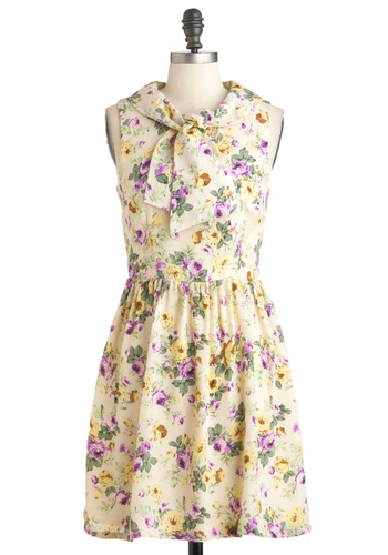 Harbor Arbor Dress - Sheer, Mid-length, Cream, Yellow, Green, Purple, Floral, Casual, A-line, Sleeveless, Spring, Fairytale, Exclusives, Pastel, Tie Neck, Cocktail, Collared, Daytime Party, Fit & Flare, Graduation, Summer