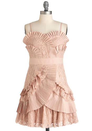 Fashion Fanfare Dress by Ryu - Short, Pink, Lace, Pleats, Cocktail, Spaghetti Straps, Prom, Wedding, Party, French / Victorian, Pastel