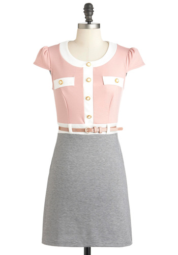 Second Day on the Job Dress - Multi, Pink, Tan / Cream, Grey, Buttons, Pockets, Belted, Shirt Dress, Cap Sleeves, Short, Work
