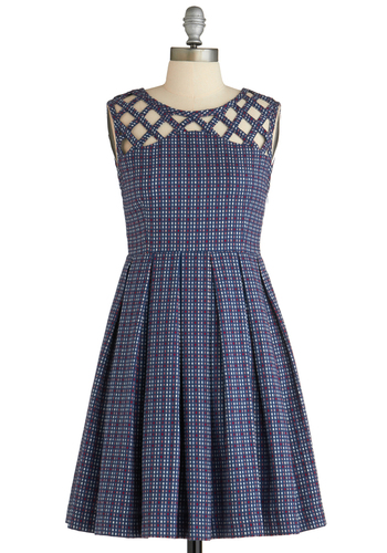 Been There, Grenadine That Dress in Blue by Dear Creatures - Mid-length, Cotton, Blue, Multi, Plaid, Cutout, Pleats, Vintage Inspired, A-line, Sleeveless, Cocktail, Fit & Flare, Work, Scholastic/Collegiate