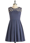 Been There, Grenadine That Dress in Blue by Dear Creatures - Mid-length, Cotton, Blue, Multi, Plaid, Cutout, Pleats, Vintage Inspired, A-line, Sleeveless, Fit & Flare, Scholastic/Collegiate, Exclusives