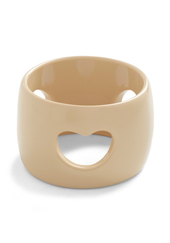 Heart and Soul Bracelet - Tan, Solid, Cutout, Casual, Girls Night Out, Minimal