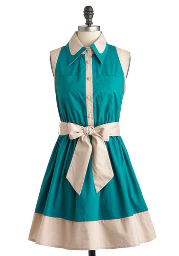 Diner Darling Dress by Ryu - Cotton, Mid-length, Green, White, Buttons, Belted, 50s, Shirt Dress, Fit & Flare, Sleeveless, Scholastic/Collegiate, Casual, Button Down, Collared