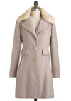 Sunrise Over Venice Coat - Pink, Tan / Cream, Buttons, Long Sleeve, Winter, Long, 3, Party, Film Noir, Vintage Inspired