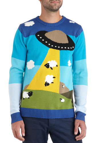 Ewe F. O. Sweater - Blue, Yellow, Green, Black, White, Knitted, Long Sleeve, Mid-length, Casual, Winter, Quirky