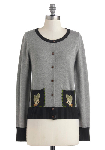 Can't Be Beak Cardigan by Knitted Dove - Mid-length, Grey, Brown, Black, Buttons, Long Sleeve, Print with Animals, Work, Casual, Quirky, Scholastic/Collegiate, Fall, Button Down