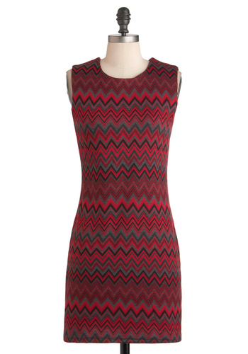 Cocktails at the Lodge Dress in Red - Short, Red, Print, Exposed zipper, Party, Sheath / Shift, Sleeveless, Fall, Black, Grey, Rustic, Holiday Sale, Crew