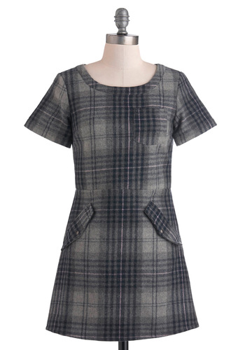 Work Study Dress - Short, Grey, Black, Plaid, Pockets, Casual, Short Sleeves, Fall, Sheath / Shift, Mod