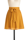 Clover the Moon Skirt in Honey - Short, Yellow, Solid, Belted, Work, Casual, Fit & Flare, Minimal