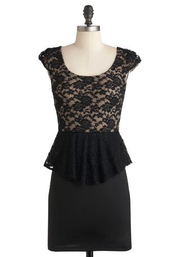 Ahead of Timeless Dress - Short, Black, Tan / Cream, Lace, Party, Film Noir, Peplum, Cap Sleeves, Cocktail