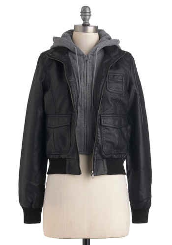 Catch You Layered Jacket - Short, Faux Leather, Black, Grey, Pockets, 2, Casual, Menswear Inspired, Fall