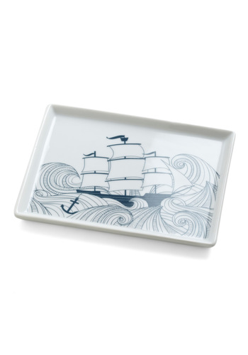 Swell Acquainted Dish - Blue, Nautical, White, Novelty Print, Vintage Inspired, Dorm Decor