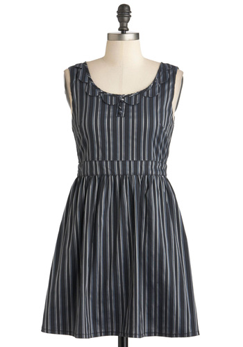 Zoot Cute Dress - Short, Blue, Stripes, Scallops, Casual, A-line, Tank top (2 thick straps), Grey, Pockets, Tis the Season Sale
