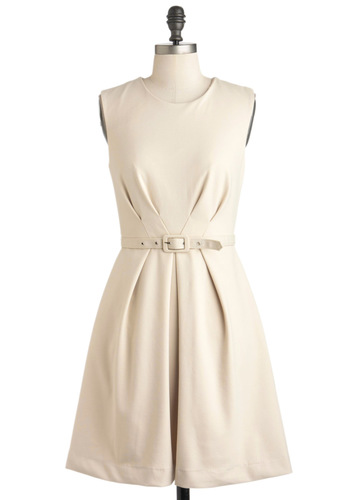 Soy My Name Dress - Mid-length, Cream, Solid, Belted, Work, A-line, Sleeveless, Spring, Fit & Flare