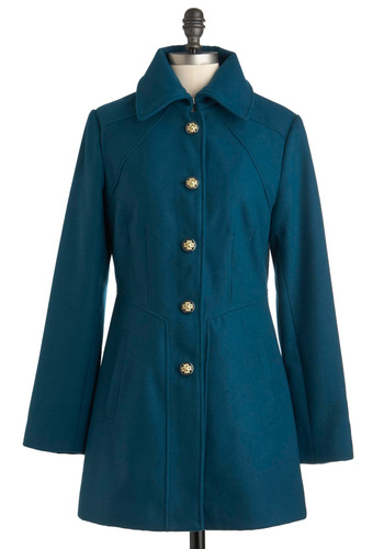 Newport Tour Coat - Blue, Solid, Buttons, Pleats, Winter, 3, Party, Casual, Long