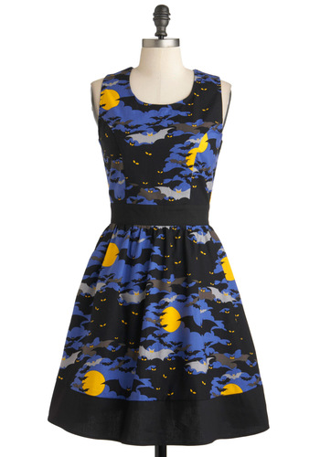 Starry, Starry Flight Dress - Black, Yellow, Blue, Grey, Print with Animals, Cutout, Party, A-line, Sleeveless, Cotton, Mid-length, Fit & Flare