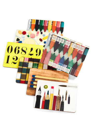 House of Cards Eames Hard Board Place Mat Set - Multi, Vintage Inspired, Dorm Decor, Mid-Century