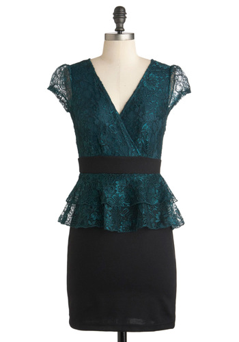 Mermaid in Manhattan Dress - Green, Black, Lace, Cocktail, Peplum, Mid-length, Cap Sleeves, Party, Sheer, Holiday Party, V Neck, Formal