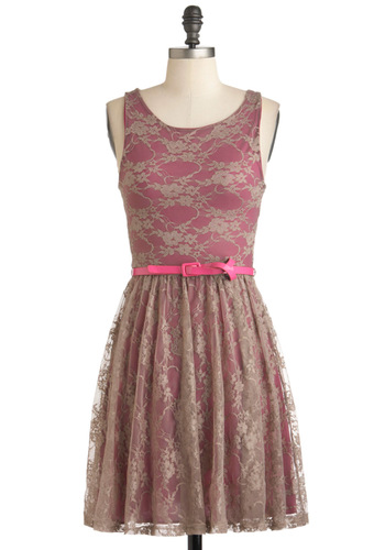 Belt the High Note Dress - Tan / Cream, Lace, Party, Vintage Inspired, A-line, Sleeveless, Belted, Mid-length, Pink, Cocktail, Daytime Party, Fit & Flare