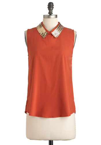 Spice Odyssey Top - Solid, Chain, Sleeveless, Sheer, Mid-length, Party, Urban, Glitter, Collared, Mod