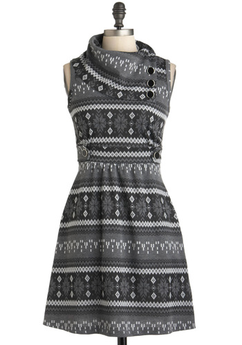 Coach Tour Dress in Winter - Short, Grey, Print, Buttons, Casual, Rustic, Sweater Dress, Sleeveless, Winter, Best Seller, Cowl, Work